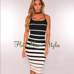 Black White Striped Ribbed Knit Dress